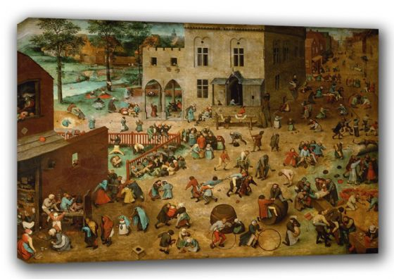 Bruegel the Elder, Pieter: Children's Games. Fine Art Canvas. Sizes: A3/A2/A1 (00266)